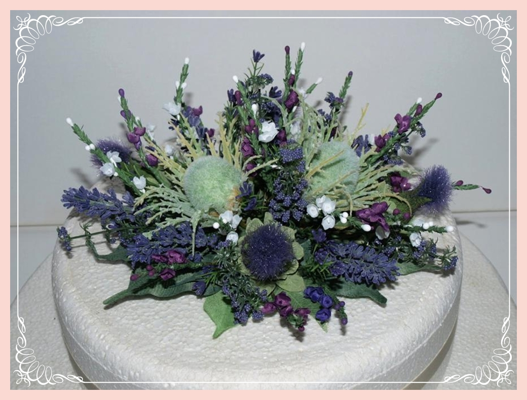 scottish thistle heather and lavender cake topper 1b flowering