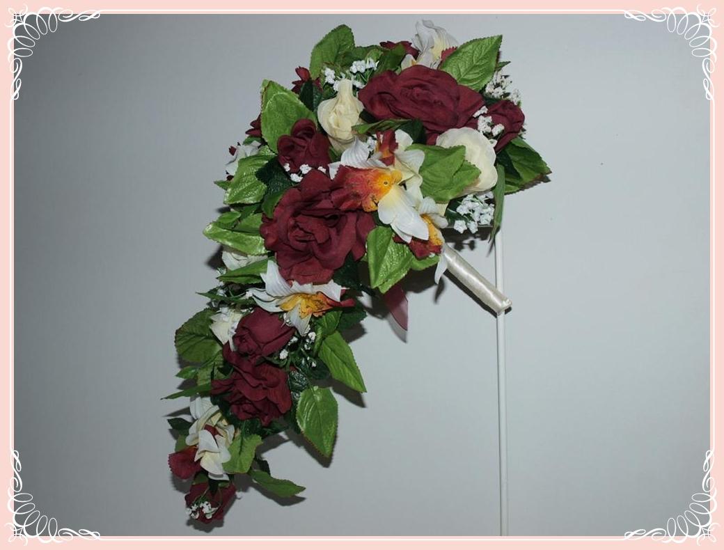 Cascade Orchid Bridal Bouquet : Burgundy rose and ivory orchid cascade bridal bouquet