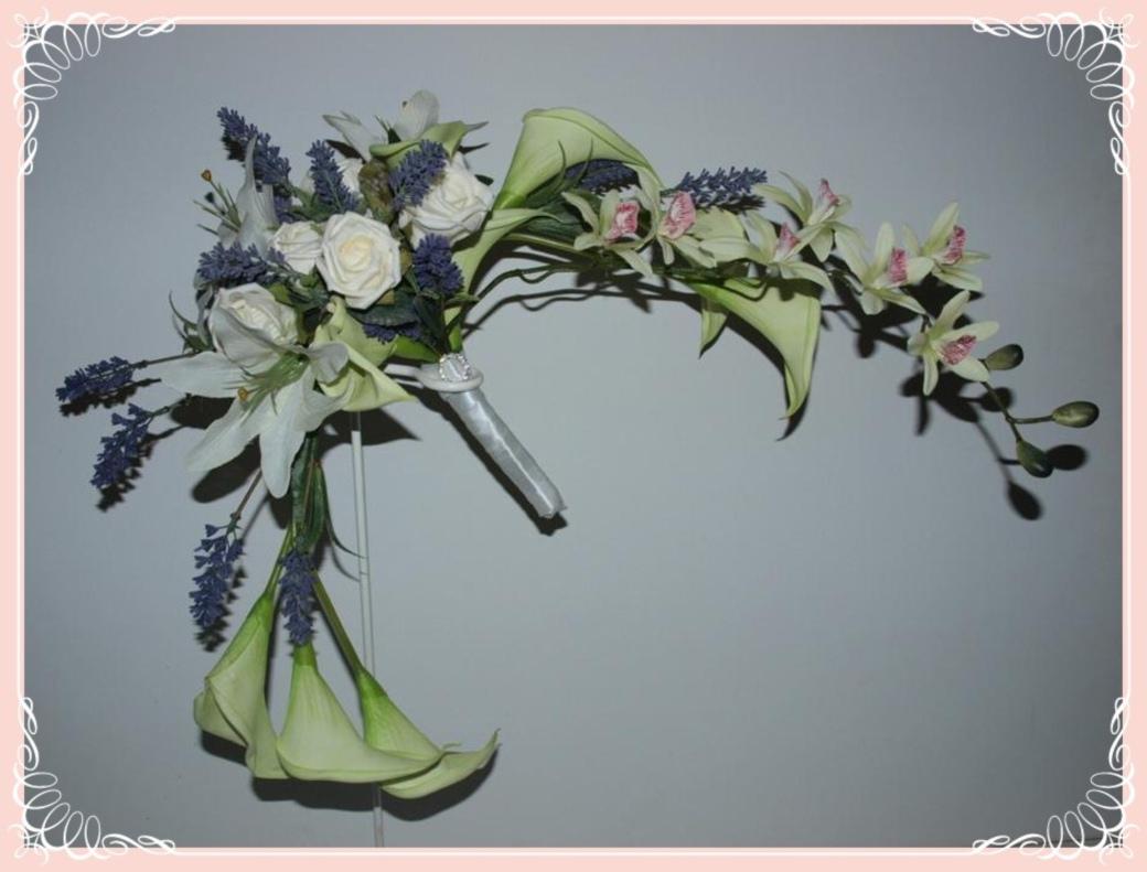 Bridal orchid calla lily and lavender crescent bouquet for Crescent bouquet